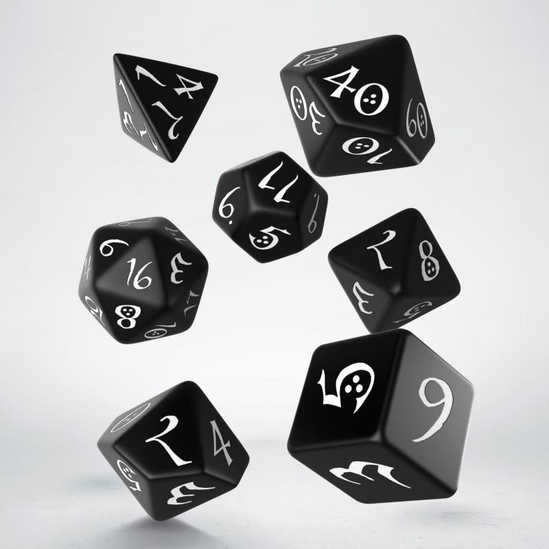 "Dados ""Élficos Clásicos Negro/Blanco"" (set de 7 dados polihédricos)"