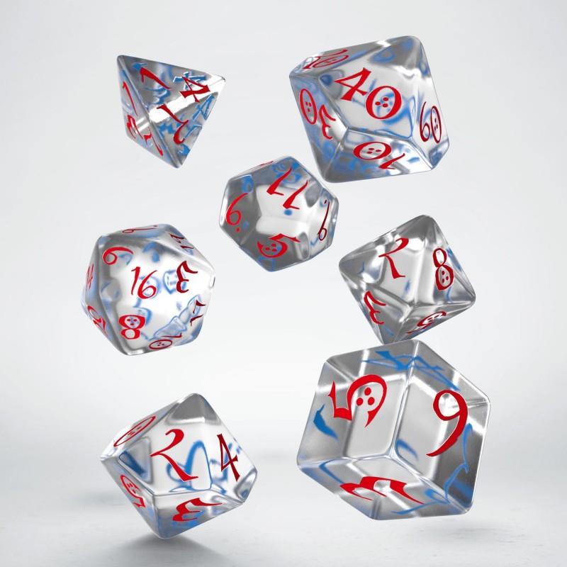 "Dados ""Élficos Clásicos Translúcidos"" (set de 7 dados poliédricos)"