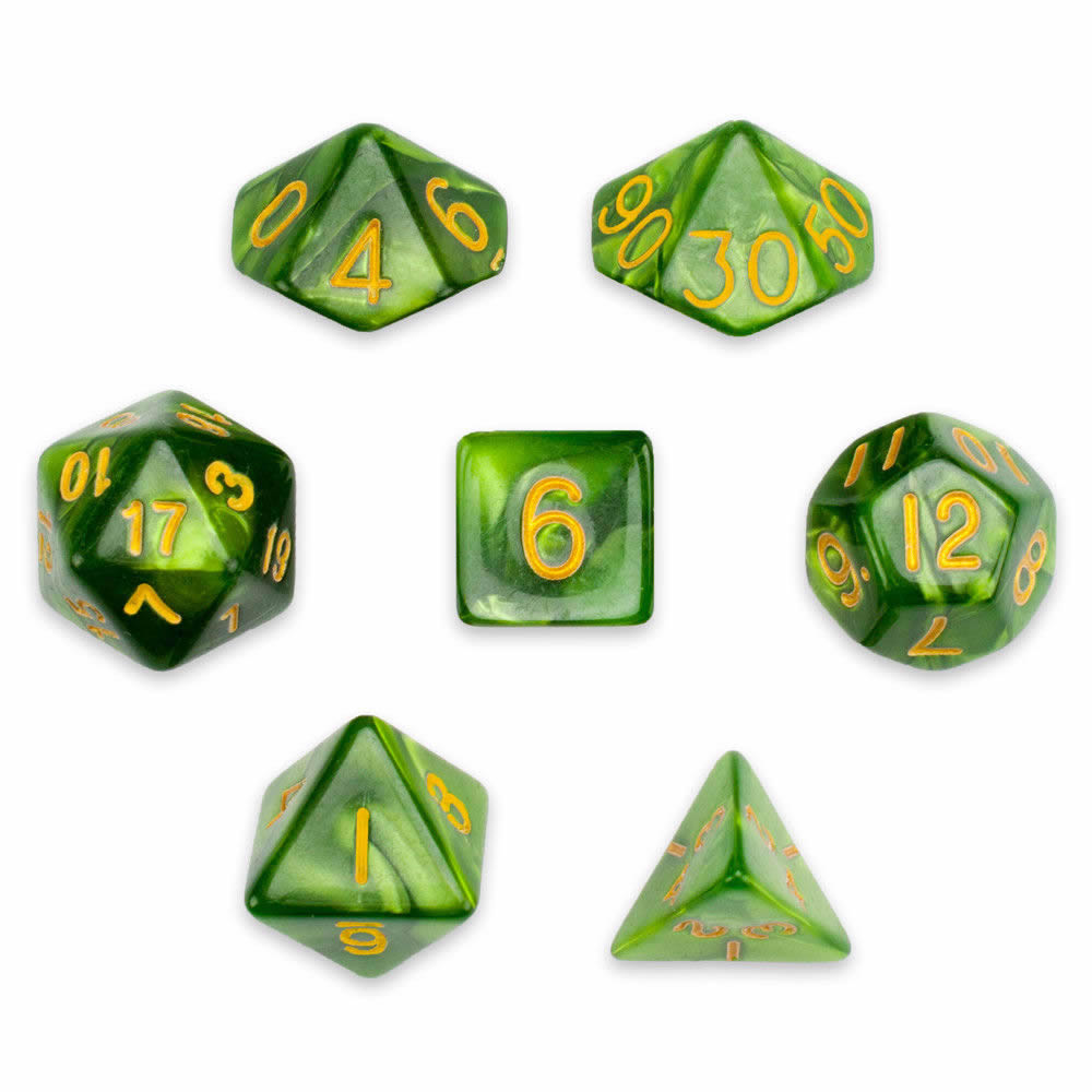 """Dados """"Aceite de Jade"""" (set de 7 dados poliédricos)"""