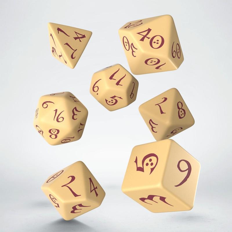 "Dados ""Élficos Clásicos Beige/Borgoña"" (set de 7 dados poliédricos)"