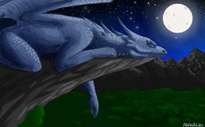 GREAT BLUE DRAGON sleeping by LauraRamirez